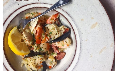 Chef Chris Hastings' Low Country Pirlou with Clams, Sausage, Shrimp & Carolina Gold Rice